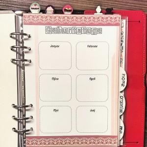 Filofax Geburtstagskalender, birthday calendar